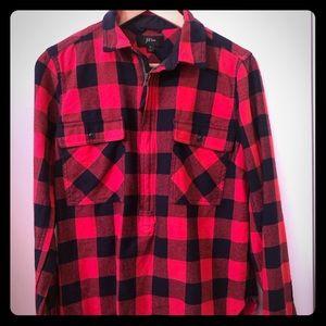 Jcrew Flannel Poppver Jacket Sz S